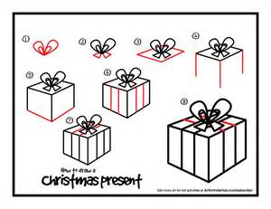 how to draw a christmas present art for kids hub
