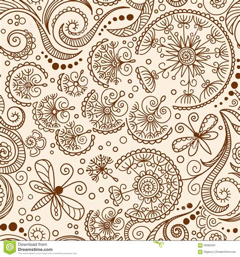 vector seamless henna mehndi doodle pattern stock vector