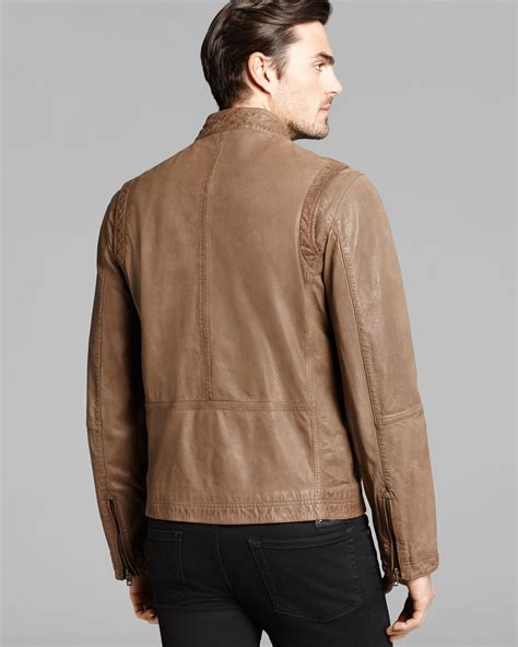 cole haan brown leather jacket cole haan vintage leather moto jacket in brown for lyst