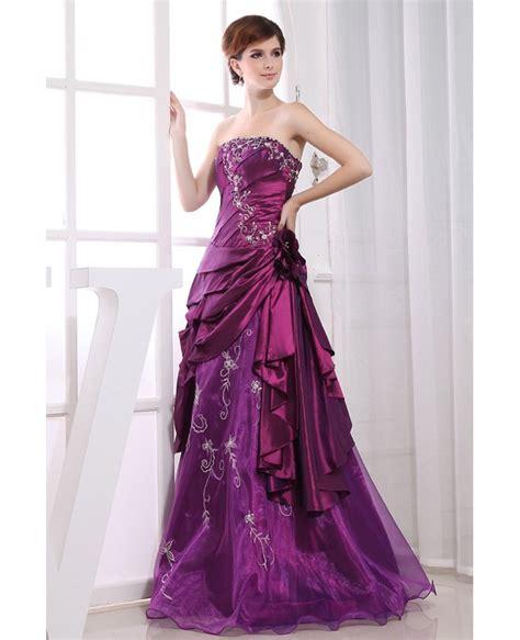 Purple Strapless Dress purple gown strapless floor length satin tulle