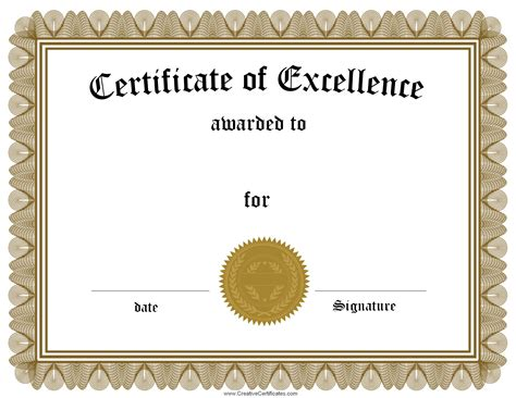 certificate of excellence template word best