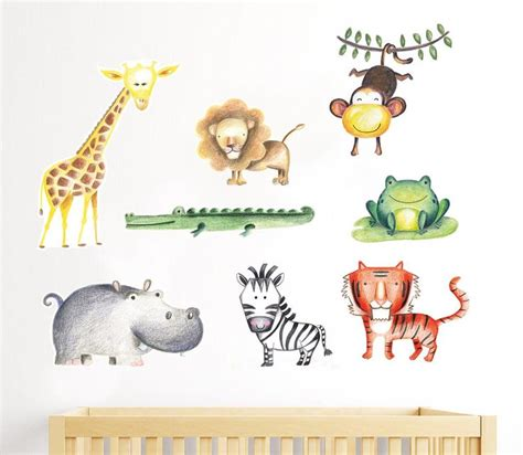 jungle nursery decal baby giraffe decal safari