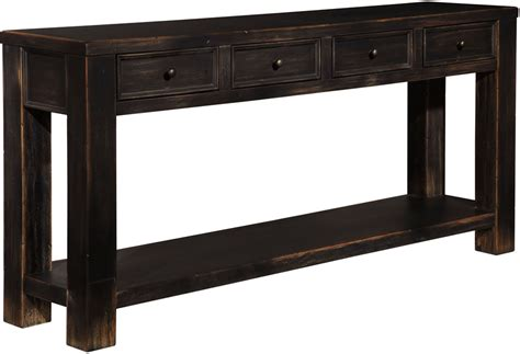 chicago solid wood sofa table in rubbed black finish