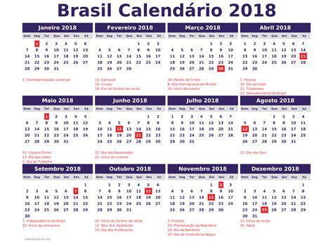 Calendario 2018 Carnaval Calendario 2018 Brasil Con Feriados Para Imprimir