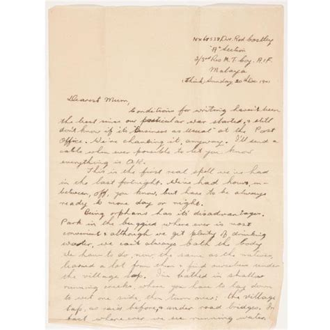 Appeal Letter Malaysia Letter Written By Costley To His Bertha Malaya 1941 Nsw Anzac Memorial Hyde