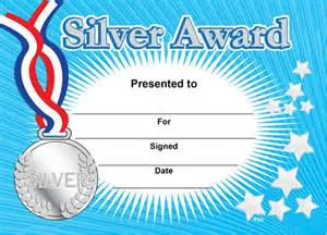silver award sports certificates