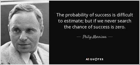 What Are The Odds Of Your Success by Philip Morrison Quote The Probability Of Success Is