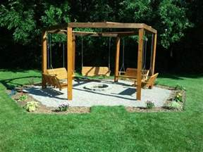 Swings Around Firepit Octagon Five Swing Backyard Swing Pit Cool Things In The Yard Pits
