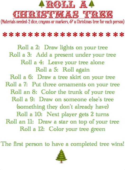 printable dice christmas game blissful roots roll a christmas tree game printable
