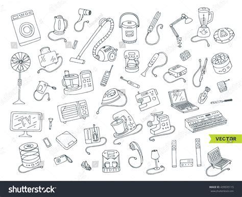 Kitchen Design Sketch household appliances doodle hand drawn big stock vector