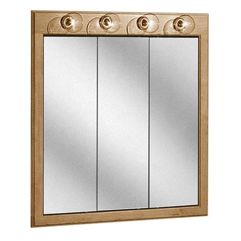 Bathroom Medicine Cabinet With Light Light Oak Wood 3 Panel Bathroom Mirror Medicine Cabinet