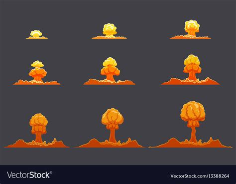 vector explosion tutorial bright flat explosion animation set royalty free vector