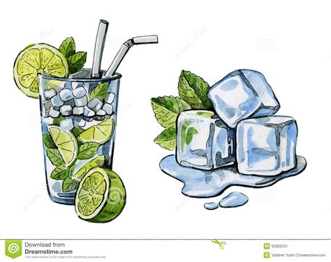 cocktail sketch watercolor hand drawn cocktail and ice stock image image