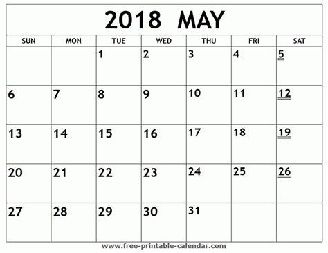 Calendrier 2018 Printable Printable Monthly Calendar May 2018 Larissanaestrada