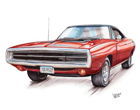 1970 dodge charger drawing 70 dodge charger rt drawing by shannon watts