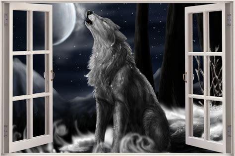 wolf wall mural 3d window view wolf space wall sticker decal wallpaper mural ebay