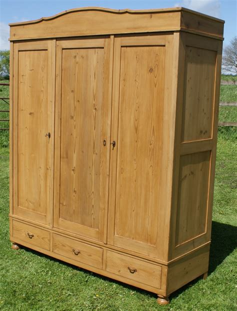 Large Armoire Wardrobe A 19th Century Large Antique Solid Pine Armoire