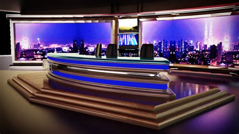 news room 3d tv news room