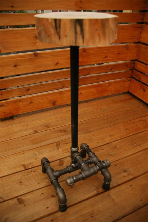1 inch pipe floor saddle solid maple stool with 3 4 inch black steel piping base