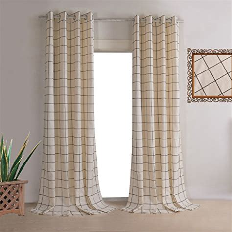 Plaid Curtains For Kitchen Leyden Grommet Top Classic Beige Jacquard Plaid Curtains For Kitchen Curtain Drapes 42wx96 Quot L