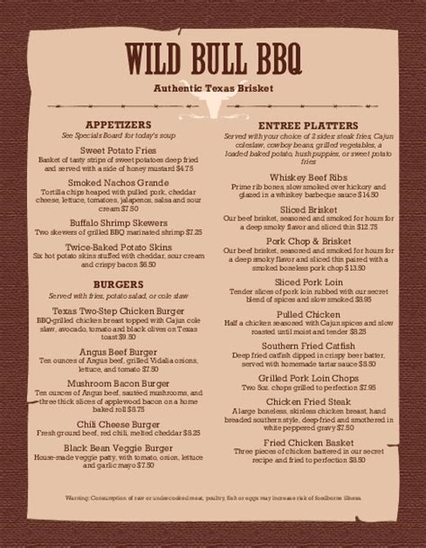 bbq menu template bbq menu barbeque menus