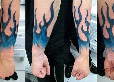 blue flame tattoo and blue tattoos
