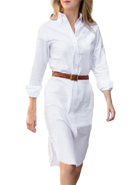 womens dress shirts women button down collar v neck fashion shirt dress tops