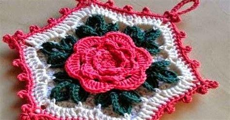 tejida al crochet con diagrama crochet y dos agujas patrones de agarradera hexagonal con centro de flor tejida al crochet