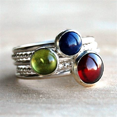 Handmade Gemstone Rings - fairground gemstone stacking rings by alison designs