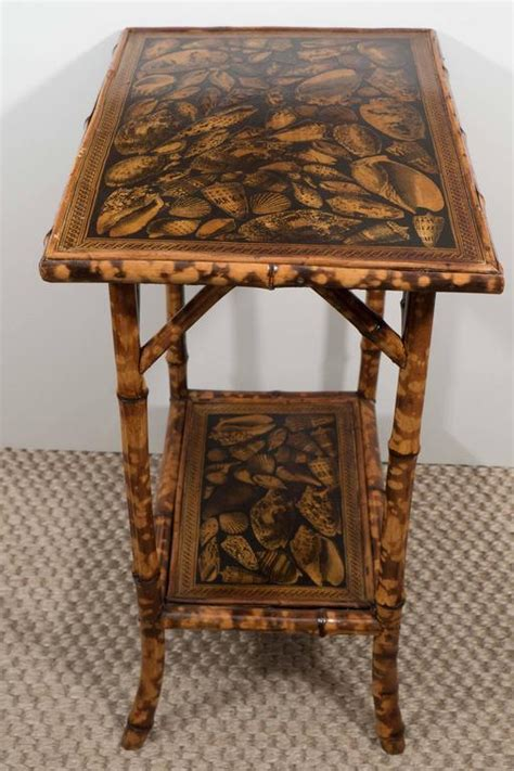 small bamboo table with decoupage shells at 1stdibs