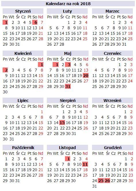 Kalendarz Z Dniami Wolnymi 2018 Kalendarz Na Rok 2018 Z Dniami Wolnymi
