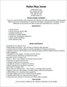 Resume Sles For Garment Industry Professional Clothing Sales Associate Templates To Showcase Your Talent Myperfectresume