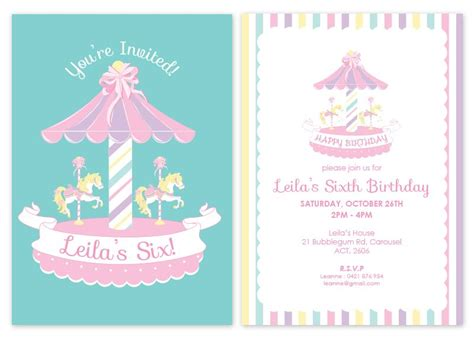 free printable birthday invitations australia carousel personalised party invitations my pink frosting