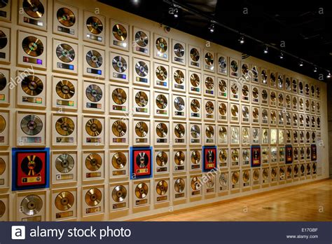 Nashville Records A Wall Of Gold Records At The Country Of Fame In Stock Photo Royalty Free