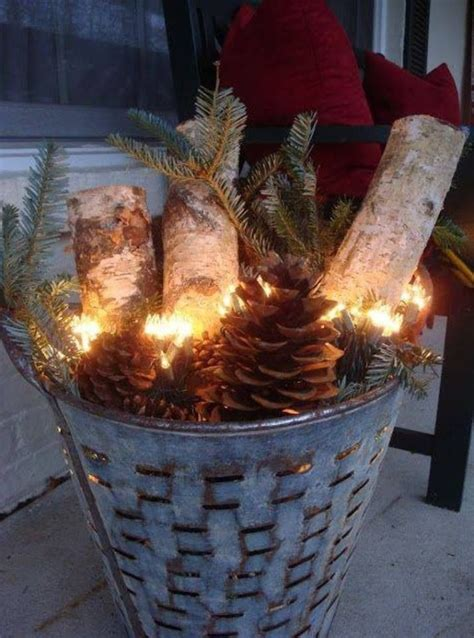 festive porch decoration birch log pinterest