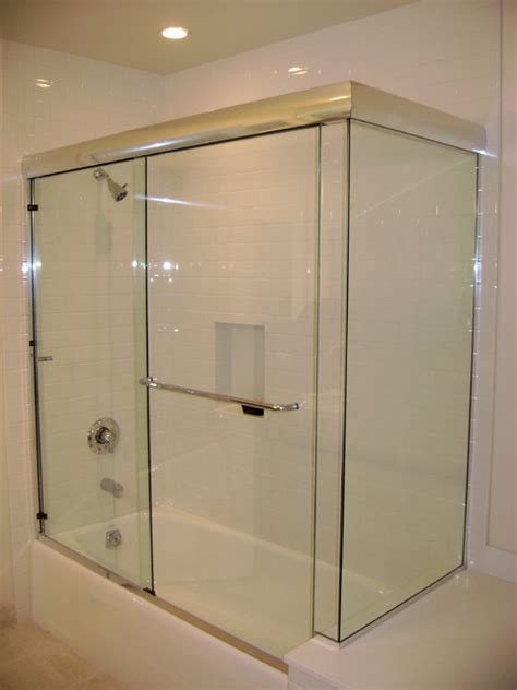 sliding shower doors for bathtubs frameless sliding doors on a tub modern bathroom los
