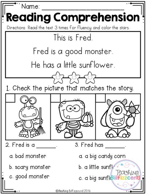 printable reading comprehension test with answers inside you will find 5 free halloween kindergarten reading