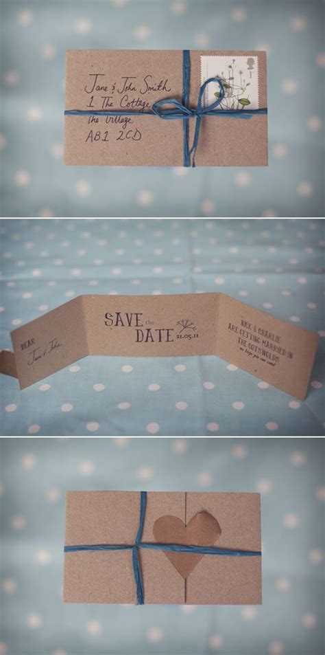 Handmade Save The Date Cards - our wedding handmade rustic save the date cards save