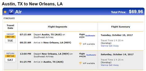 nonstop flights or san to from new orleans 70 r t southwest