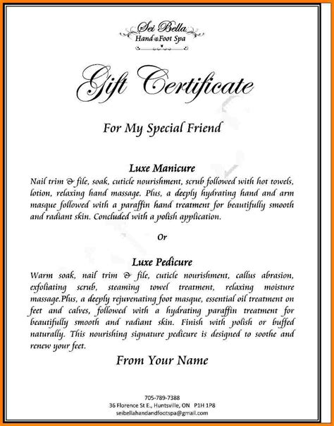 5 gift certificate wording letter format for