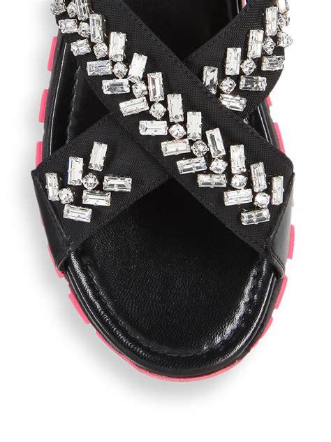 Lanvin Odette Pyhton by Prada Embellished Leather Sandals In Black