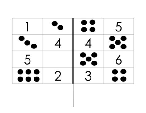 pattern matching numbers dominoes matching dot patterns to number digit