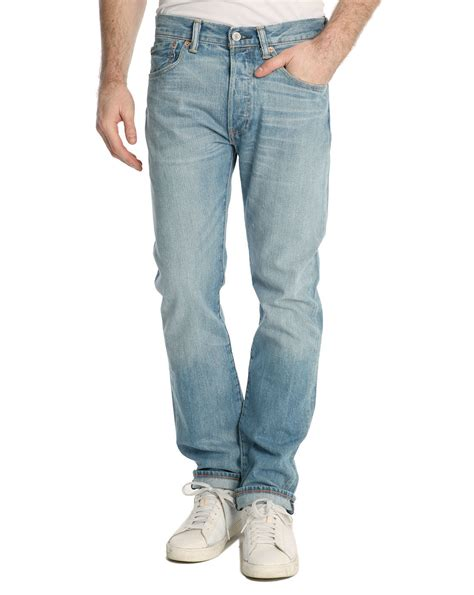 light stone washed denim jeans levi s 501 standard light blue stone washed jeans in blue
