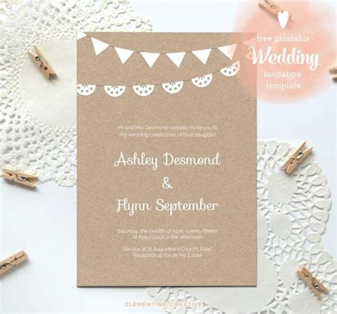 reception card template brown paper free printable wedding invitations wedding invitation