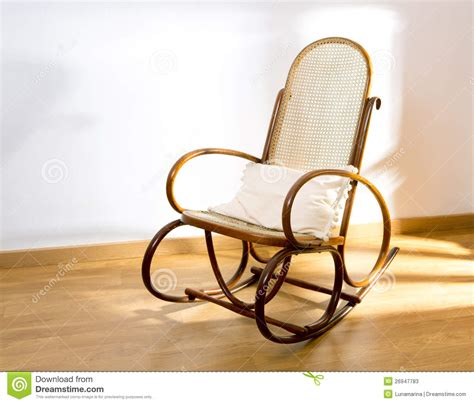 White Wood Rocking Chair Golden Retro Rocker Wooden Swing Chair Stock Image Image