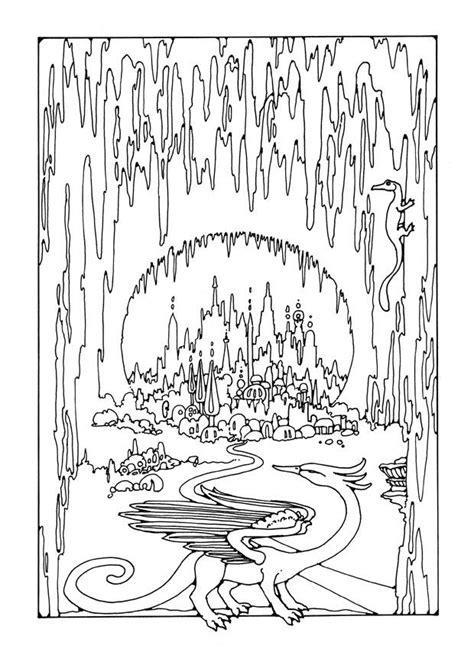 Kleurplaat stad in grot. Gratis kleurplaten om te printen.
