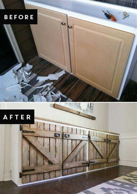 upcycled barnwood style cabinet bathroom storage