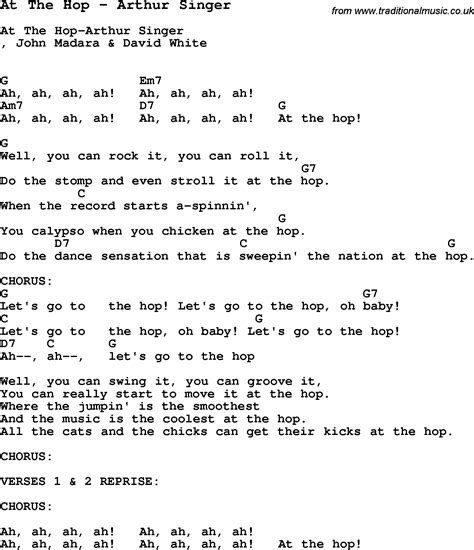the song song at the hop by arthur singer song lyric for vocal