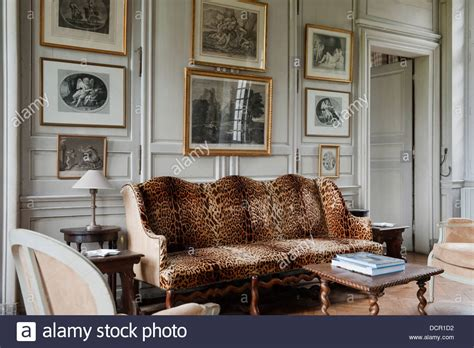 Upholstered Settee Antique French Sofa Upholstered In Leopard Print Fabric In