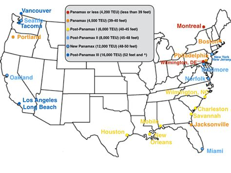 map us ports united states container ports